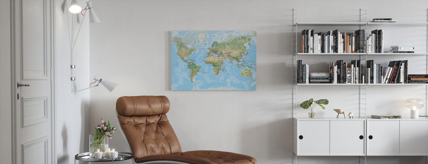 Verdenskort - Billede på lærred - Stue