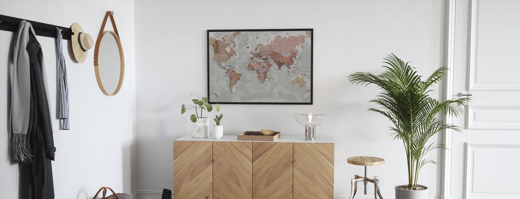 Executive Political World Map - Framed print - Hallway