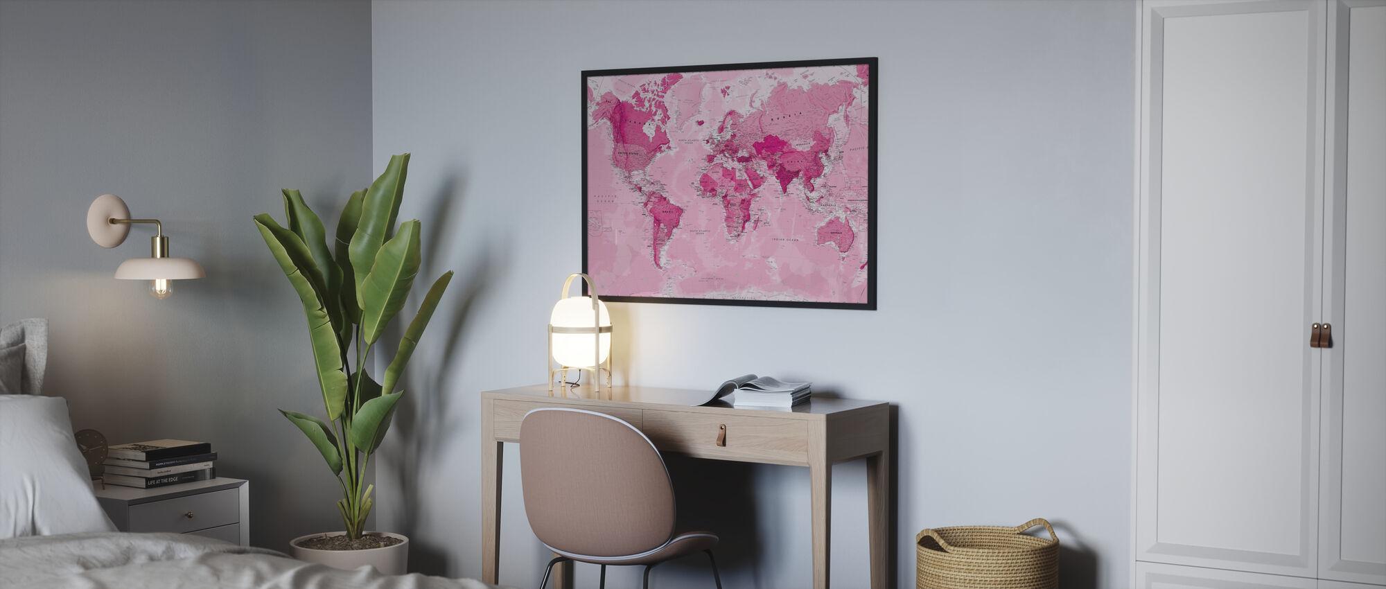 Wereldkaart Roze - Poster - Slaapkamer