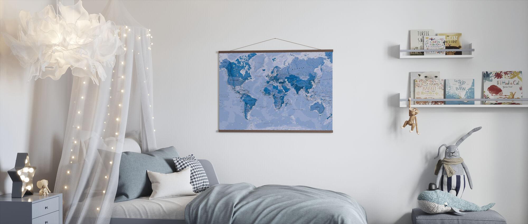 World Map Blå - Plakat - Barnerom