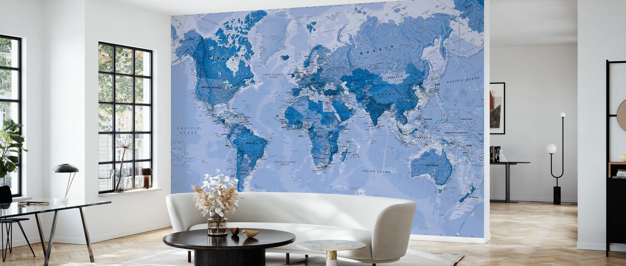 World Map Blue - Wallpaper - Living Room