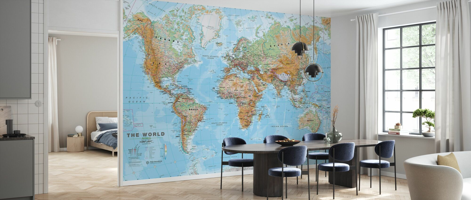 World Map Physical - Wallpaper - Kitchen