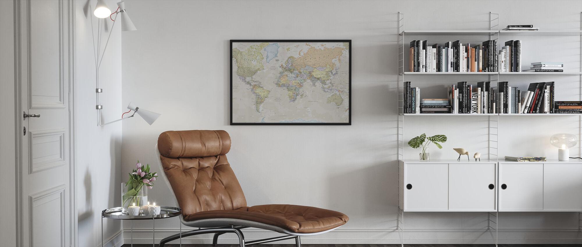 Classic World Map - Framed print - Living Room