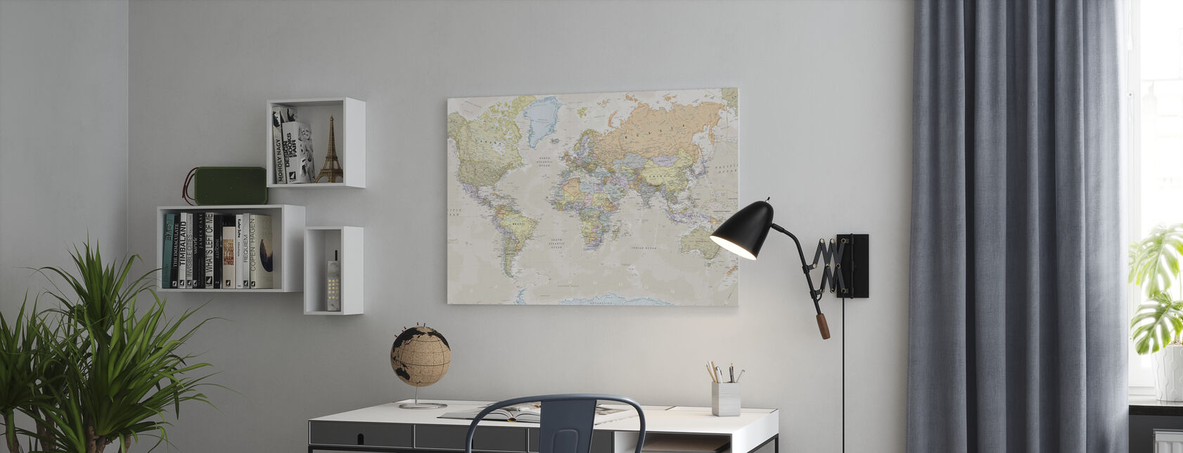 Classic World Map - Canvas print - Office