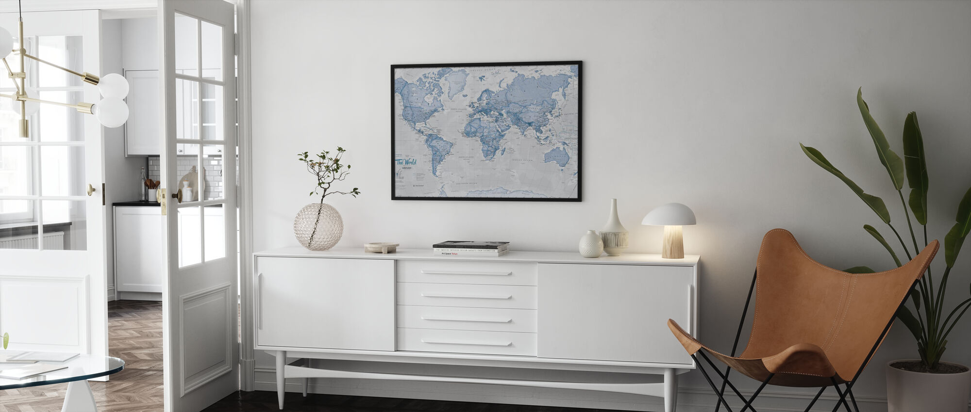 World Map Political Blue - Poster - Living Room