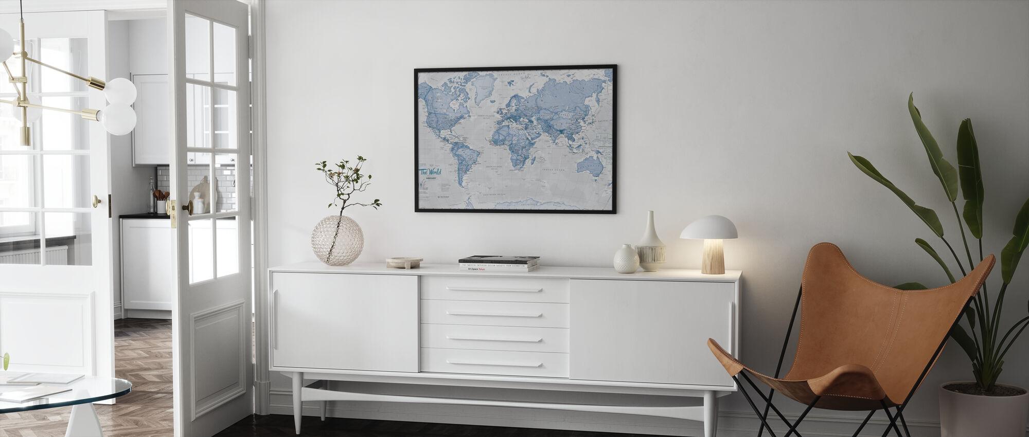 Weltkarte Politisch Blau - Poster - Wohnzimmer