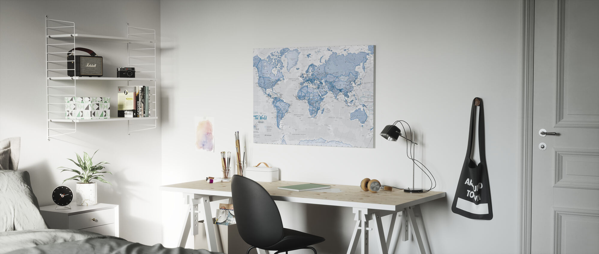 World Map Political Blue - Canvas print - Kids Room