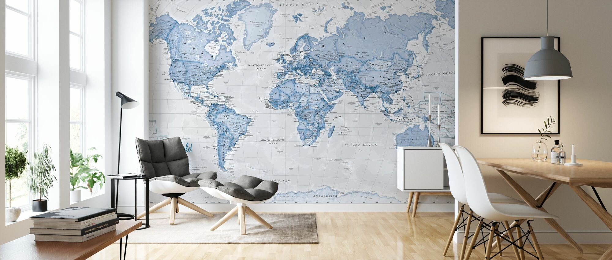 World Map Political Blue - Wallpaper - Living Room