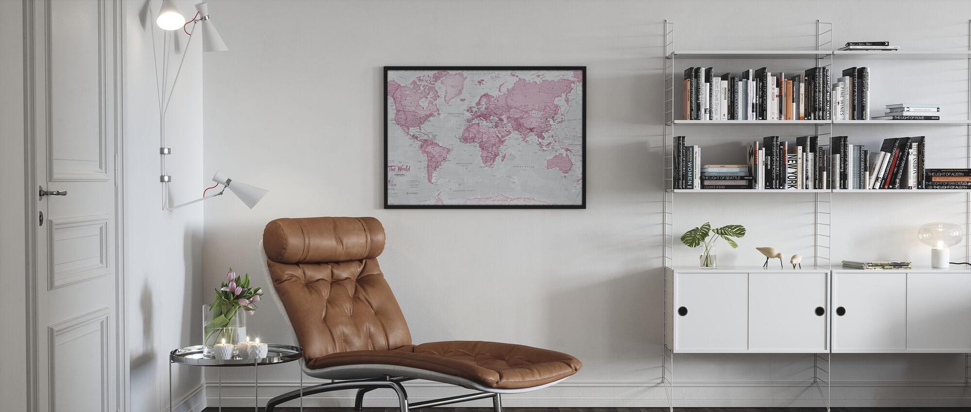 Verdenskort Politisk Pink - Indrammet billede - Stue