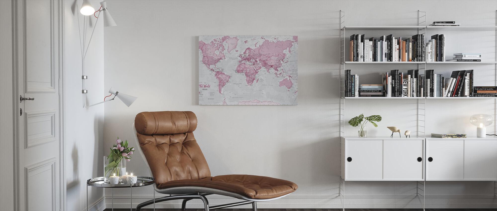 Weltkarte Politisch Pink - Leinwandbild - Wohnzimmer