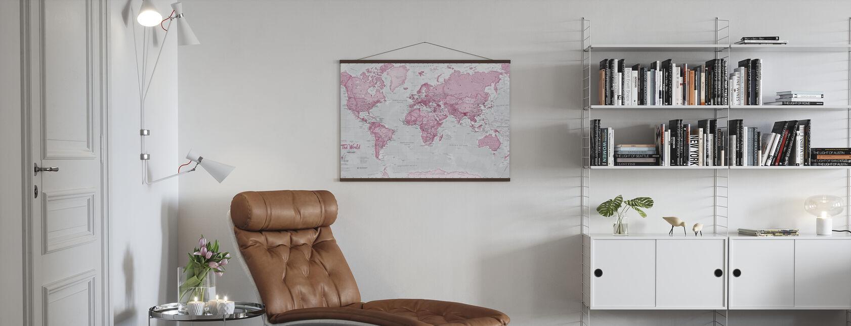 Maailmankartta Poliittinen vaaleanpunainen - Juliste - Olohuone