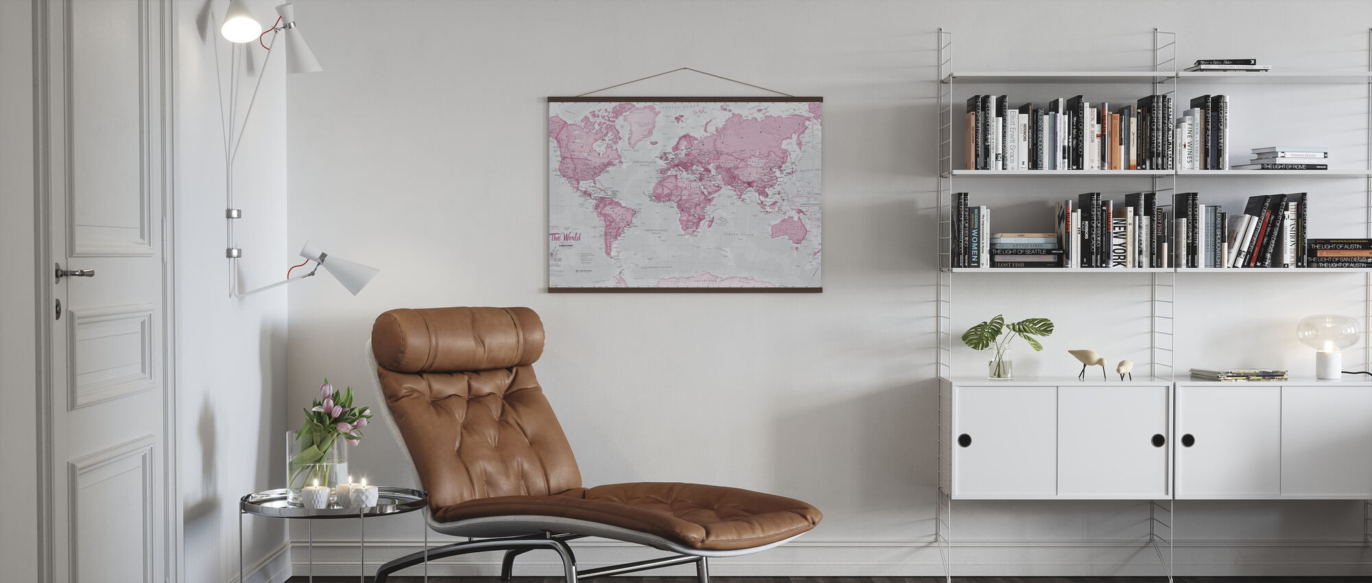 World Map Political Pink - Poster - Living Room