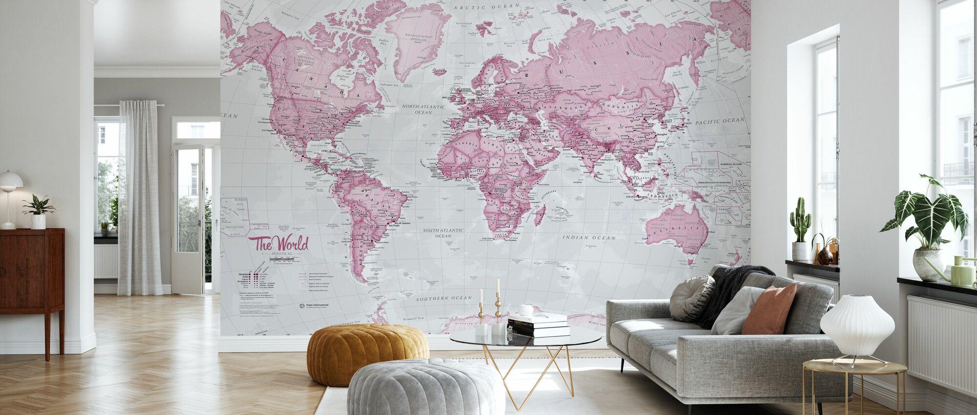 World Map Political Pink - Wallpaper - Living Room