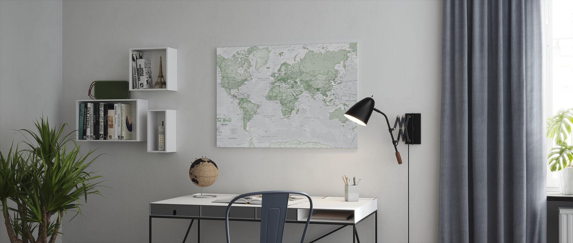 Weltkarte Politisch Grün - Leinwandbild - Büro