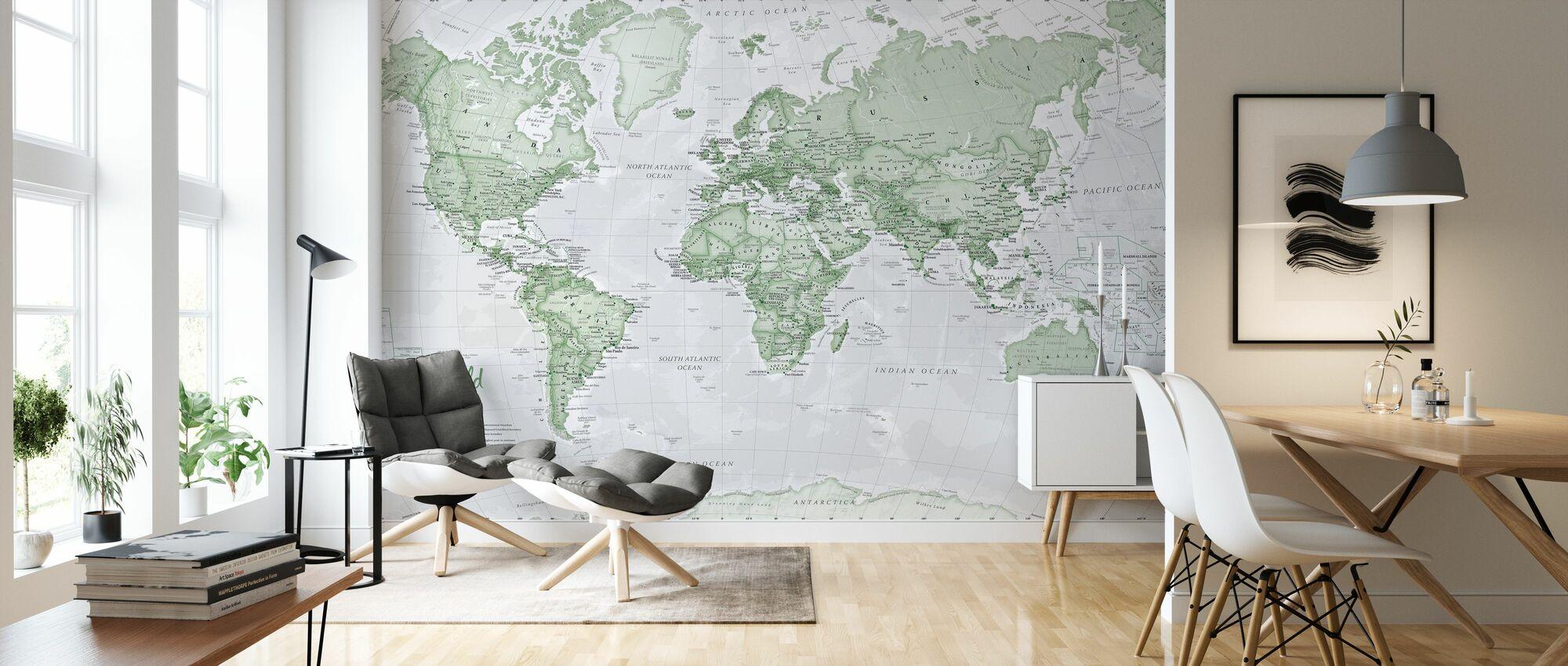World Map Political Green - Wallpaper - Living Room