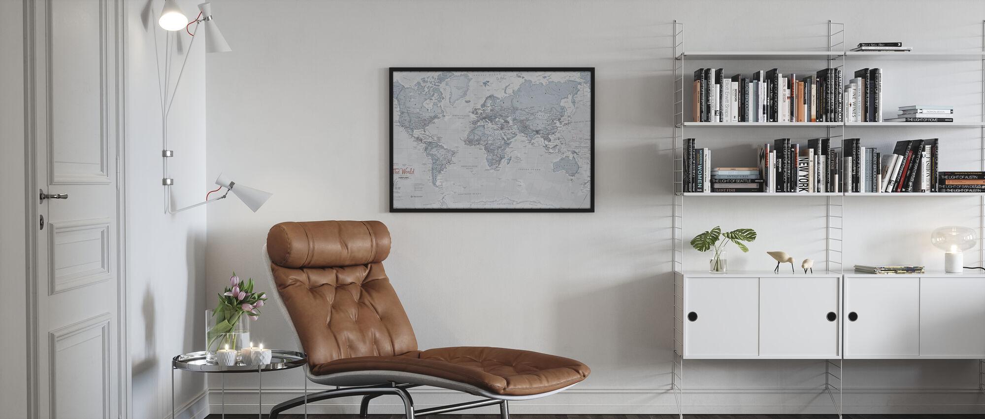 World Map Political Teal - Framed print - Living Room