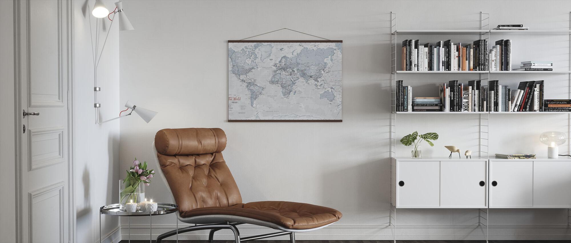 World Map Political Teal - Poster - Living Room