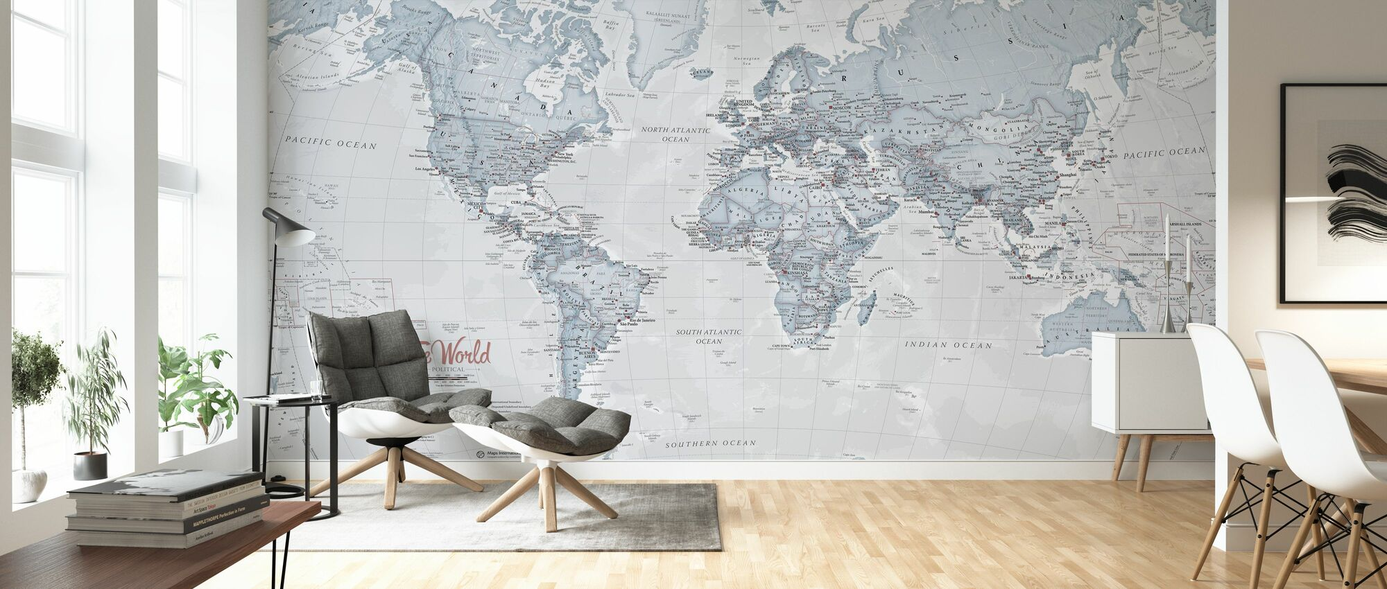 World Map Political Teal - Wallpaper - Living Room
