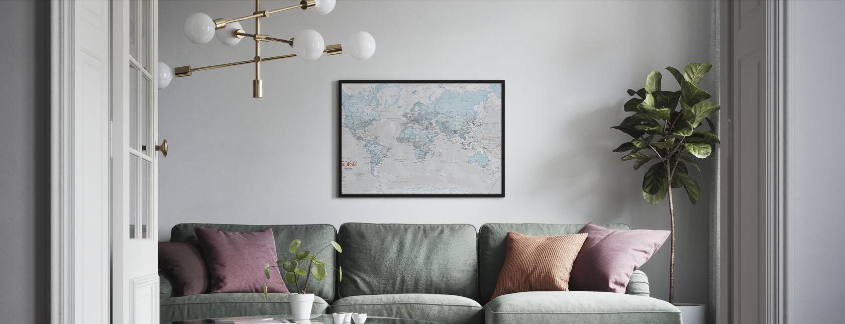 World Map Political Aqua - Framed print - Living Room
