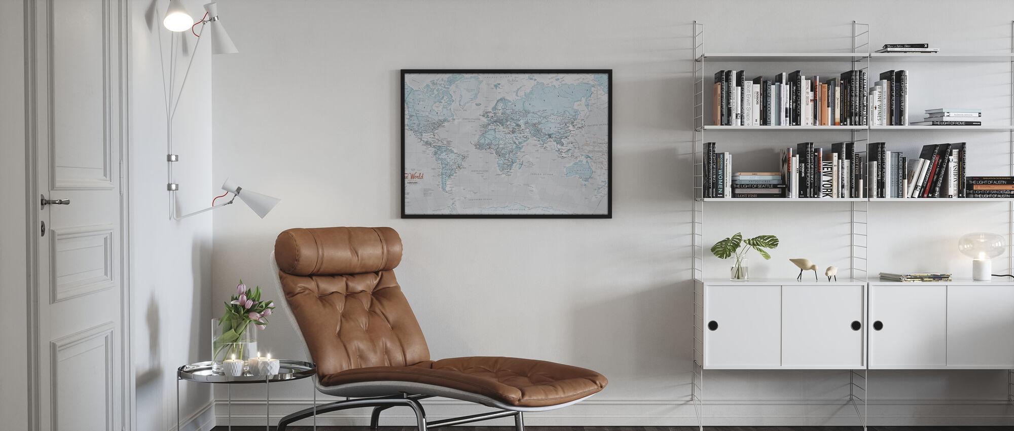 World Map Political Aqua - Poster - Living Room