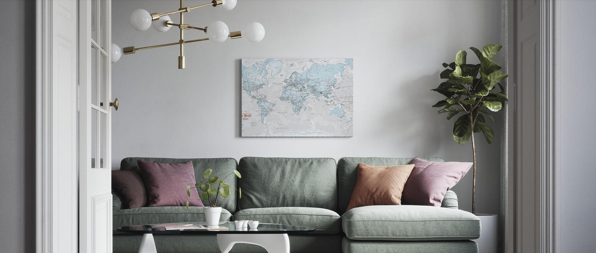 Weltkarte Politisches Aqua - Leinwandbild - Wohnzimmer