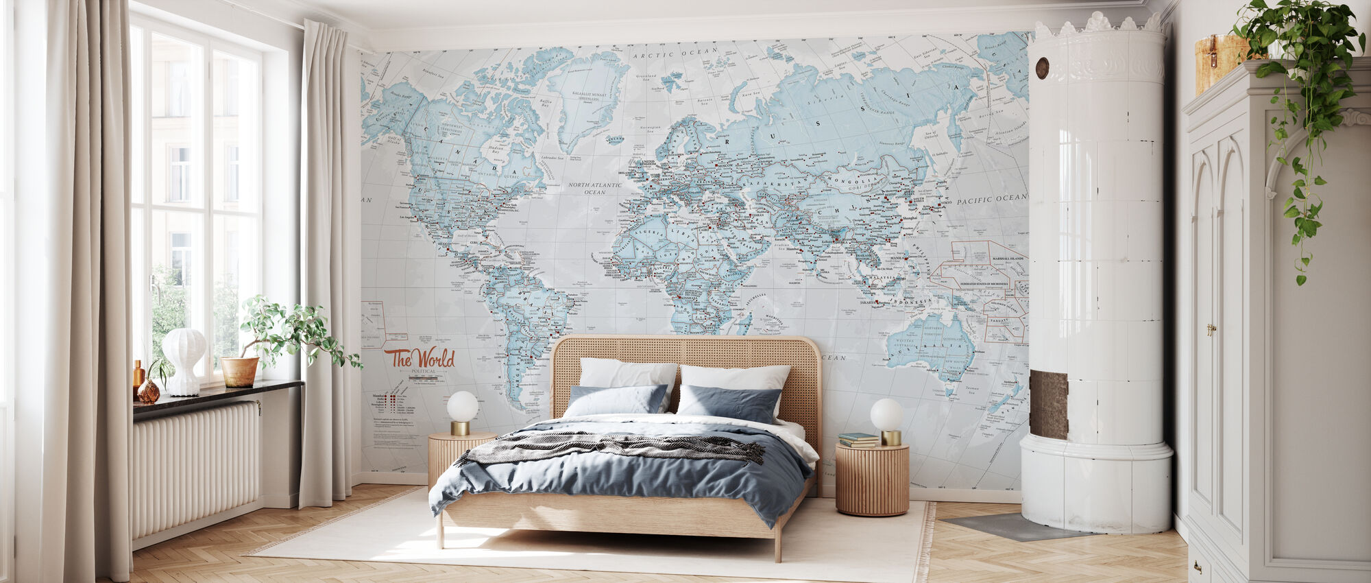 World Map Political Aqua - Wallpaper - Bedroom