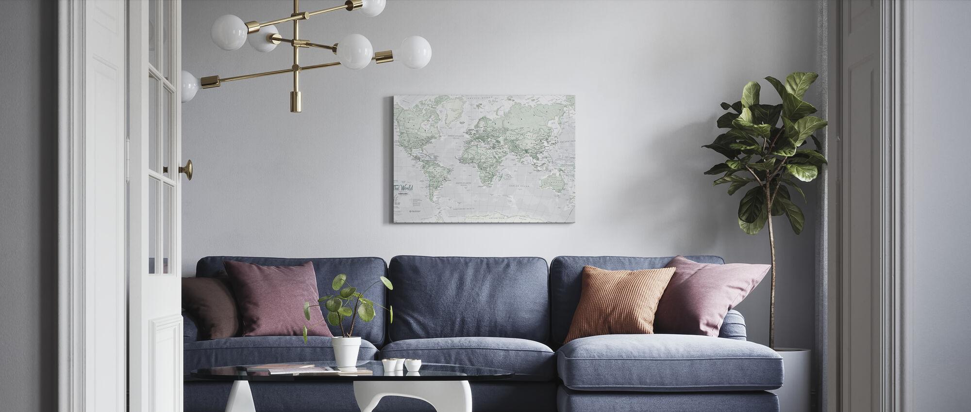 World Map Political Rustic - Canvas print - Living Room