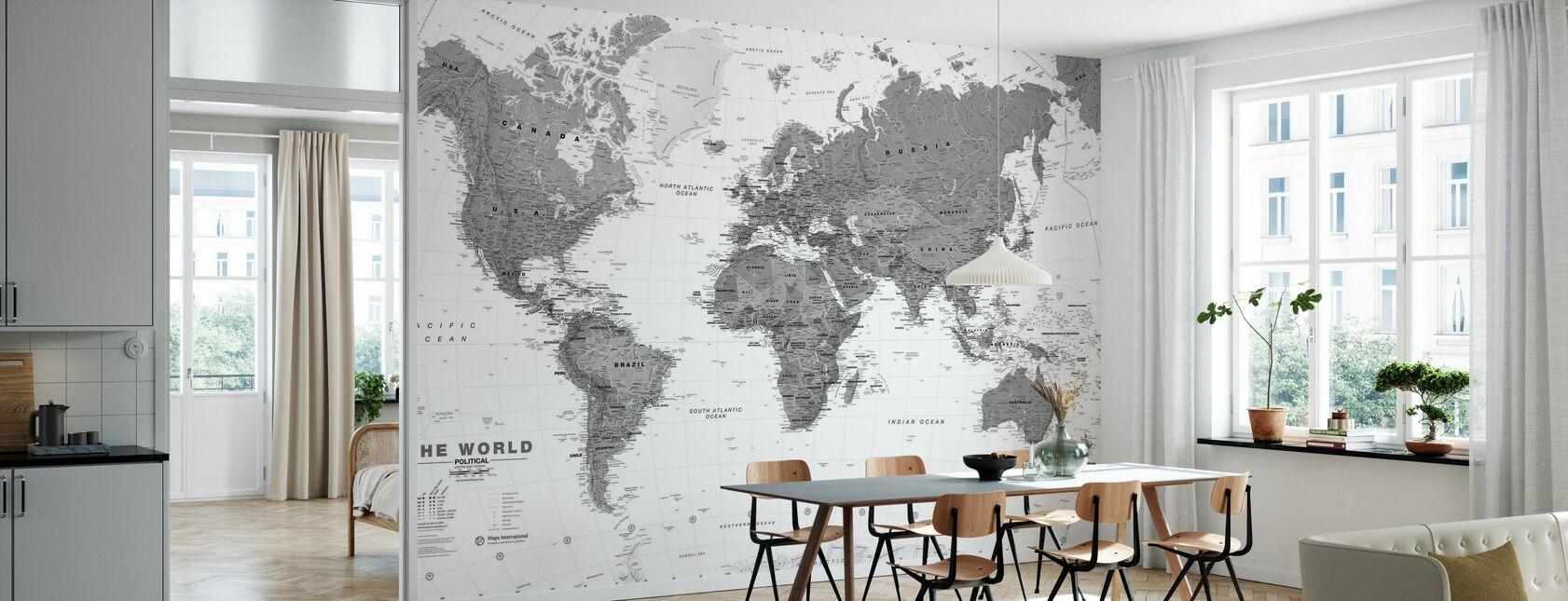 Världskarta Bw - Tapet - Kök
