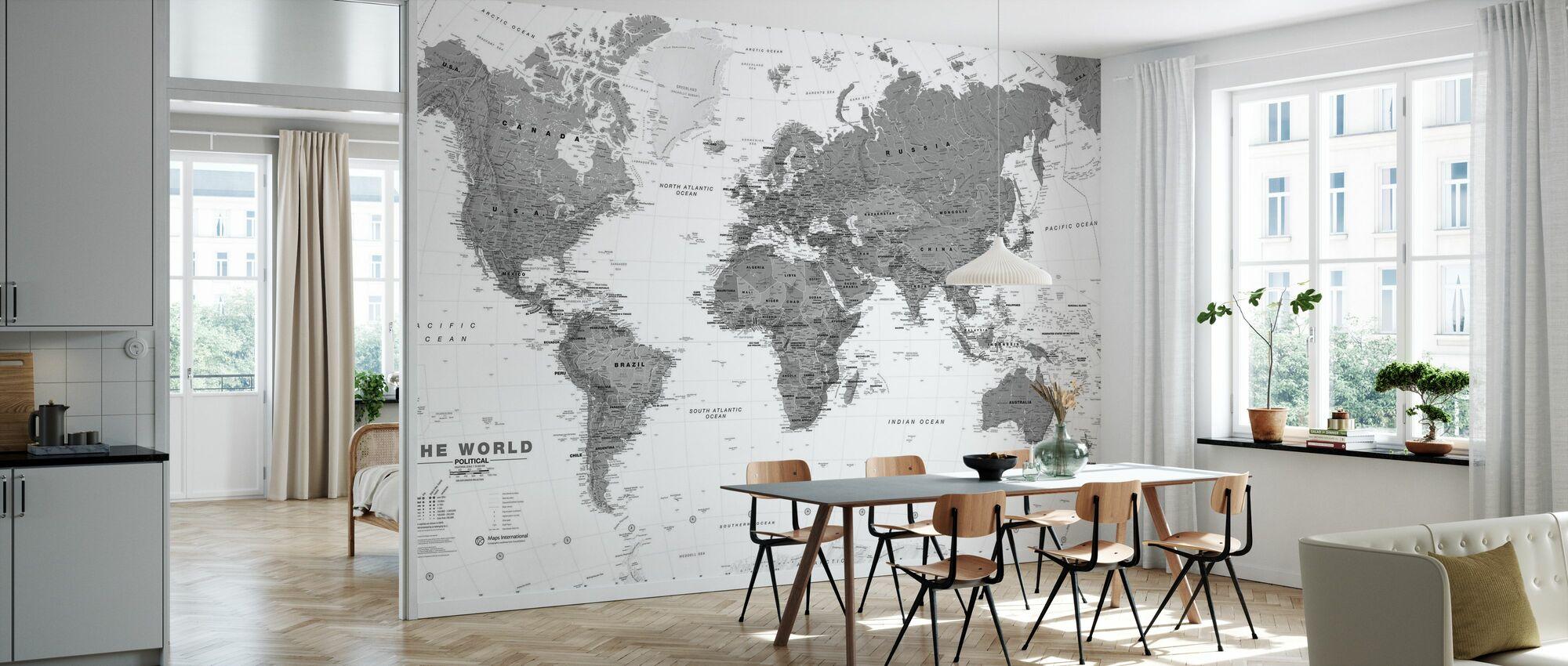 World Map Bw - Wallpaper - Kitchen
