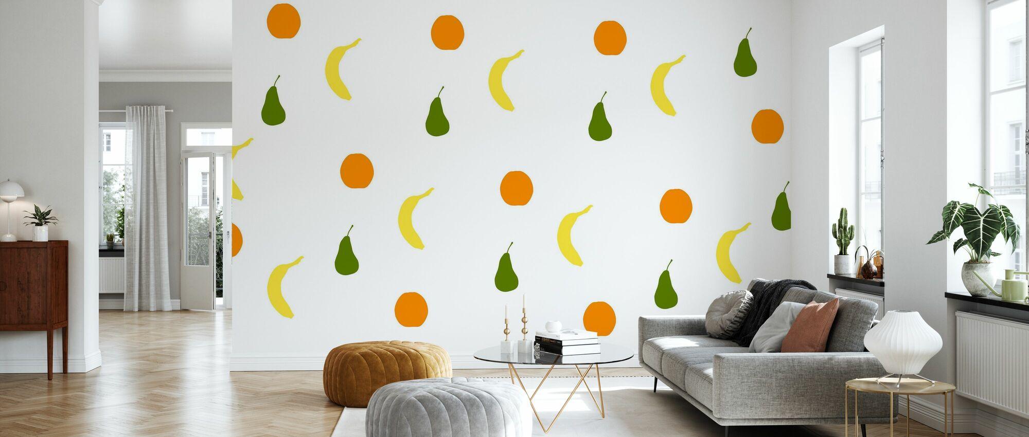 Orange Birne Banane - Tapete - Wohnzimmer