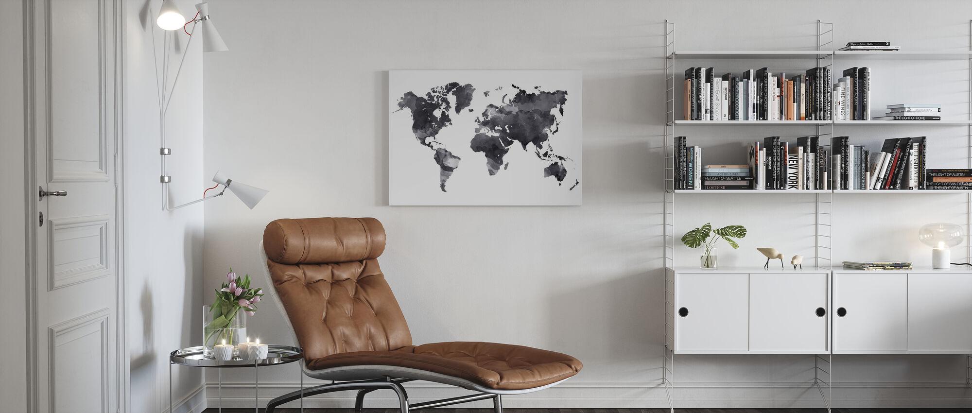 Black Ink Map - Canvas print - Living Room