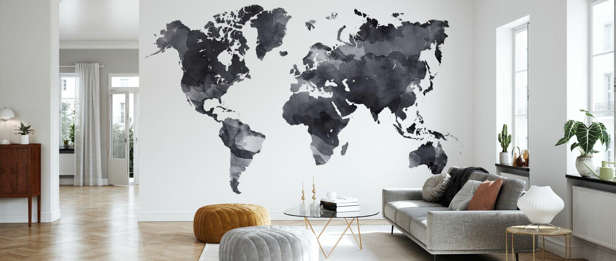 Black Ink Map - Wallpaper - Living Room