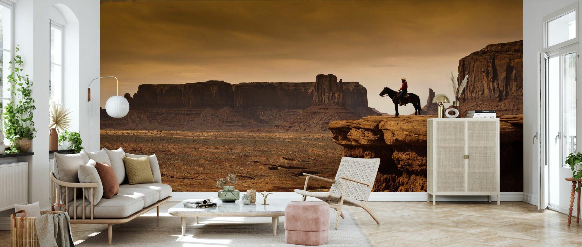Cowboy in Valley Tribal - Wallpaper - Living Room