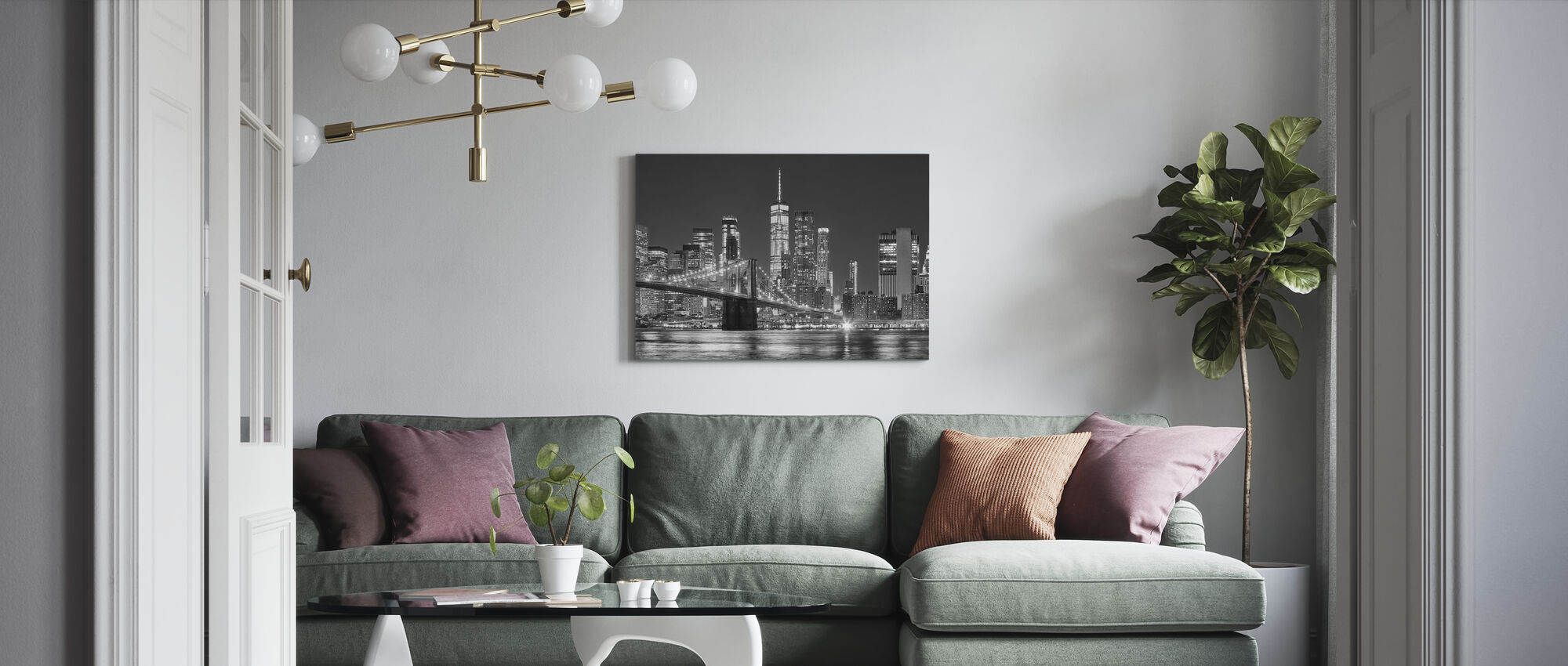 Manhattan Skyline at Night - Canvas print - Living Room