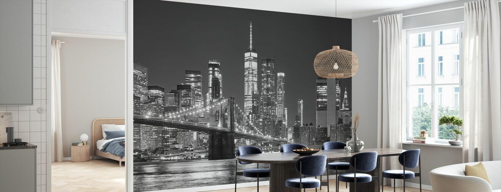 Manhattan Skyline bij nacht - Behang - Keuken