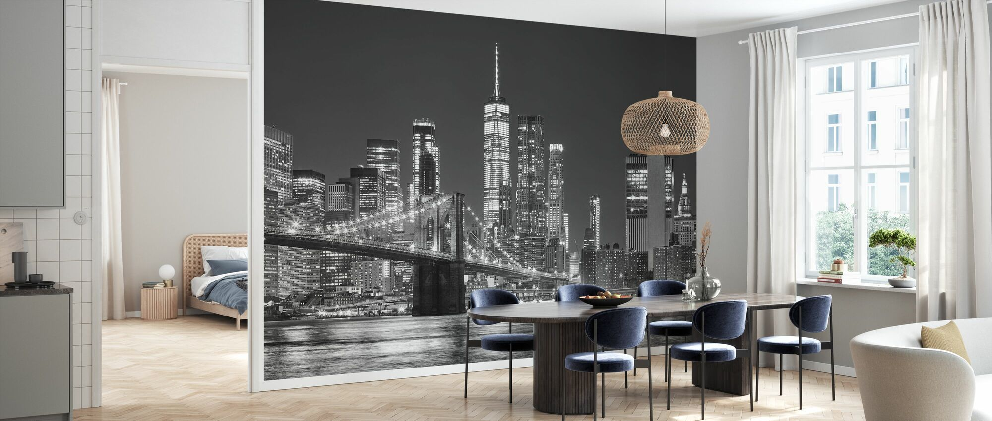 Manhattan Skyline på natten - Tapet - Kjøkken