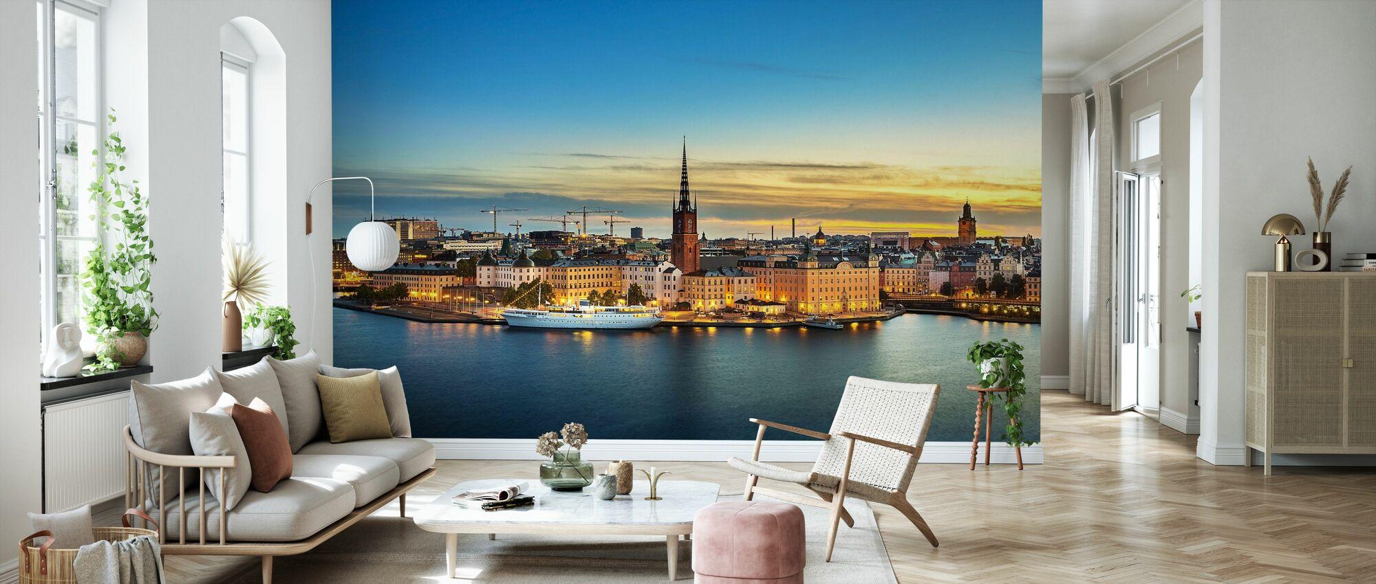 Sonnenuntergang über Riddarholmen Stockholm - Tapete - Wohnzimmer