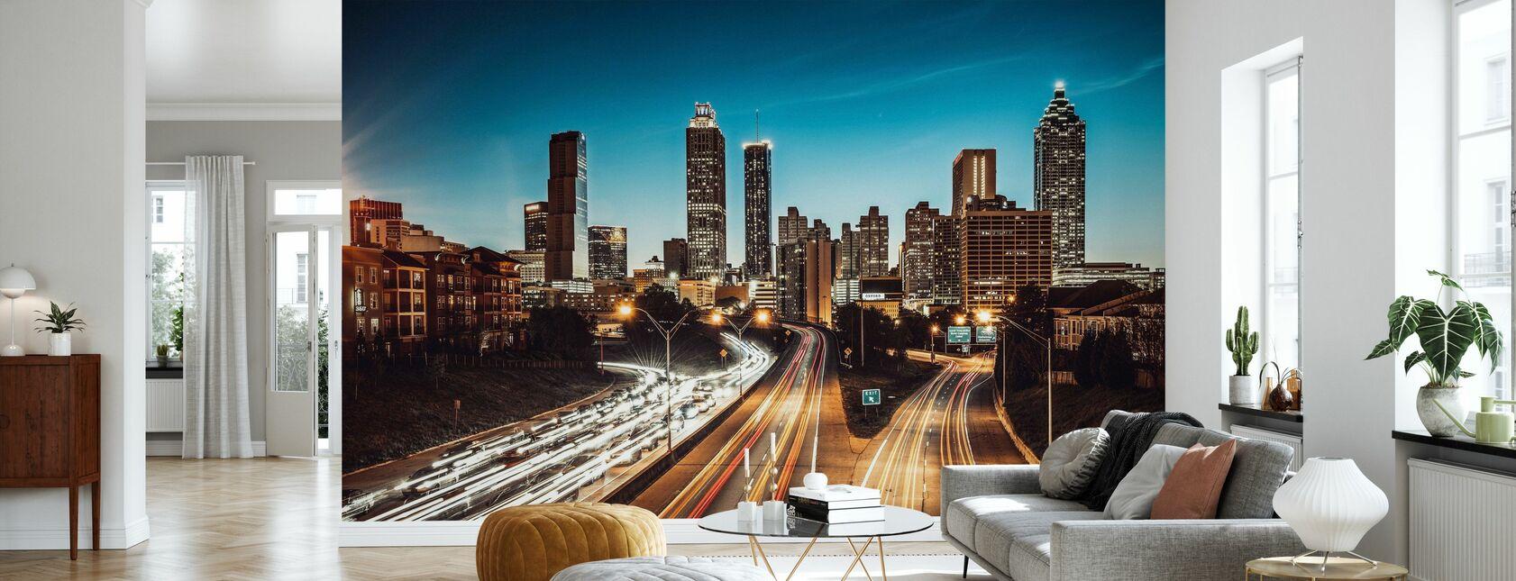 Atlanta Skyline at Dusk - Wallpaper - Living Room