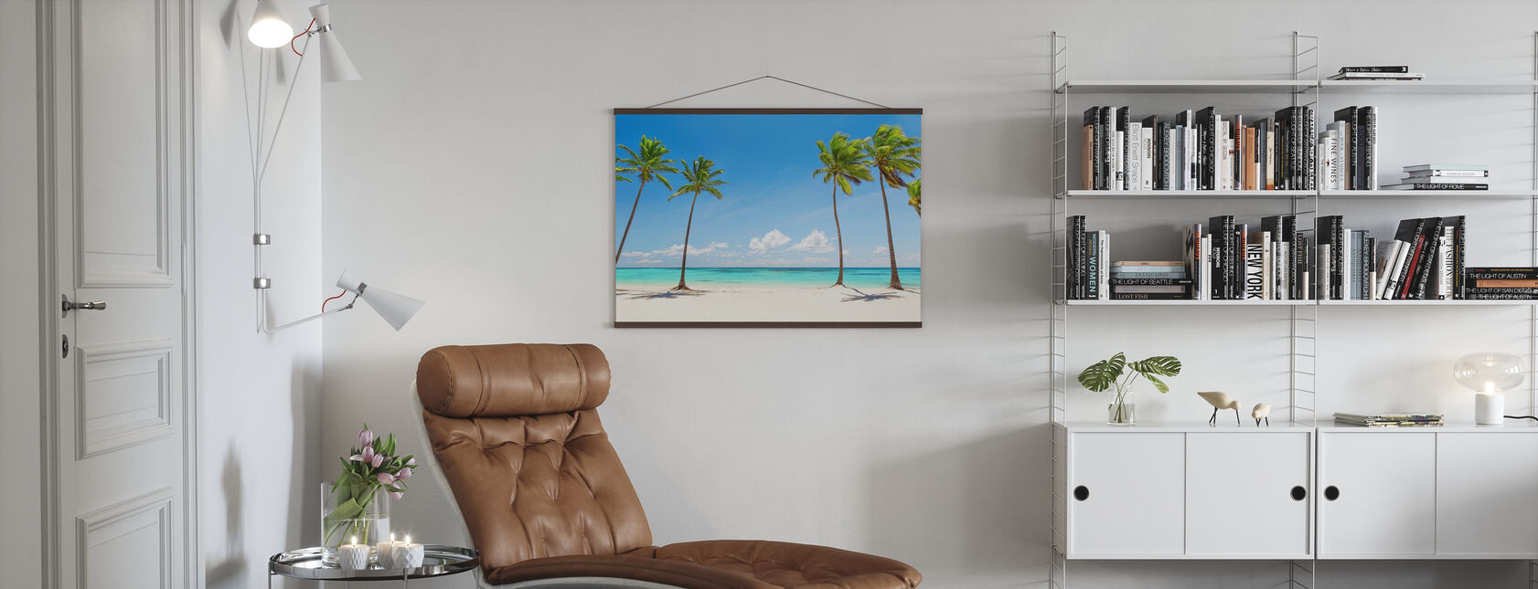 Palmy na białej plaży - Plakat - Pokój dzienny