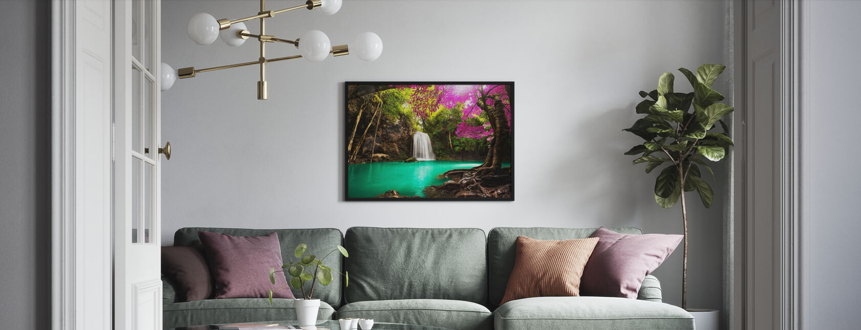 Waterfall in Autumn Forest - Framed print - Living Room