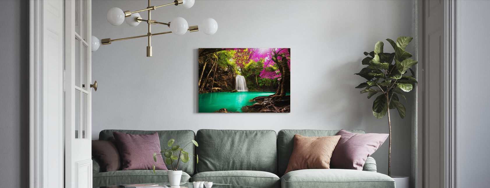Waterfall in Autumn Forest - Canvas print - Living Room