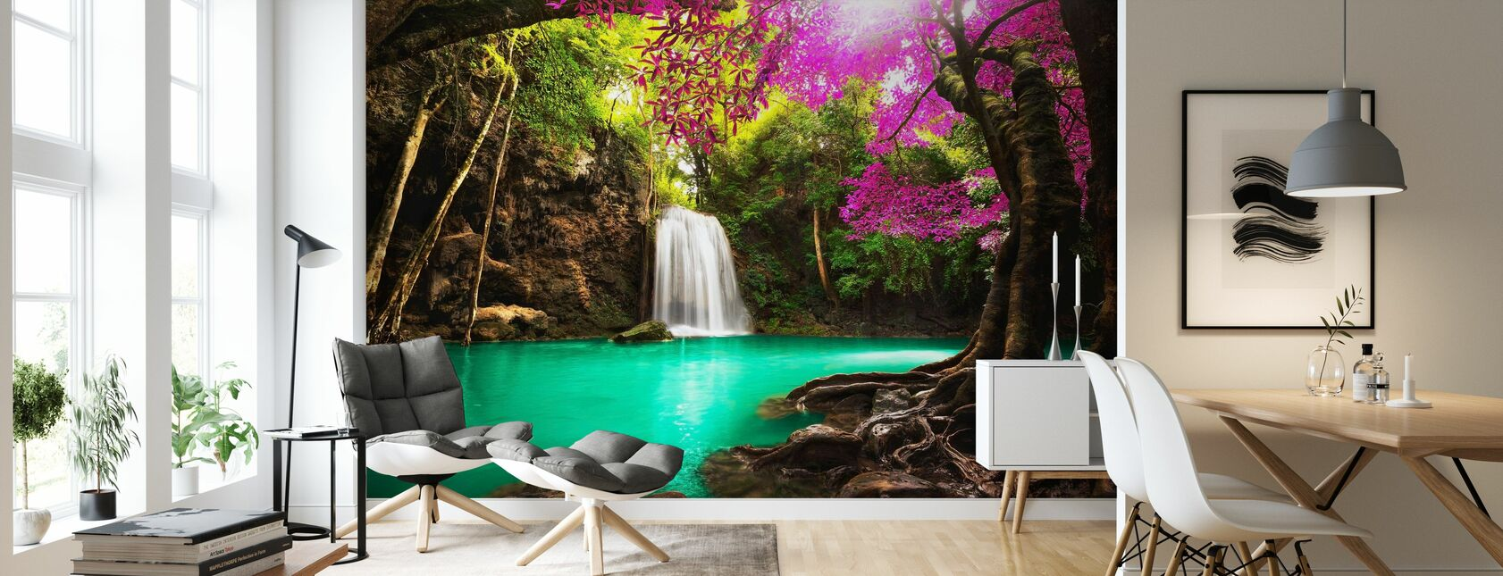 Waterfall in Autumn Forest - Wallpaper - Living Room