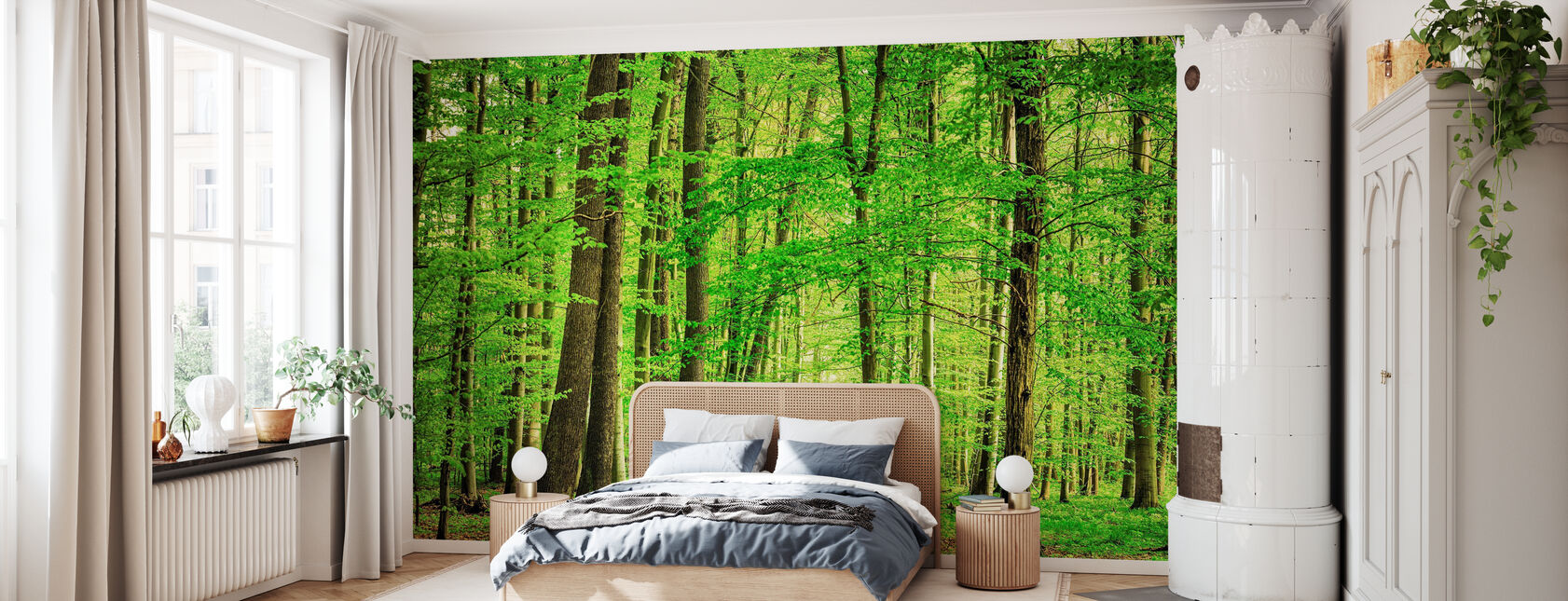 Grønne Skov i foråret - Tapet - Soveværelse