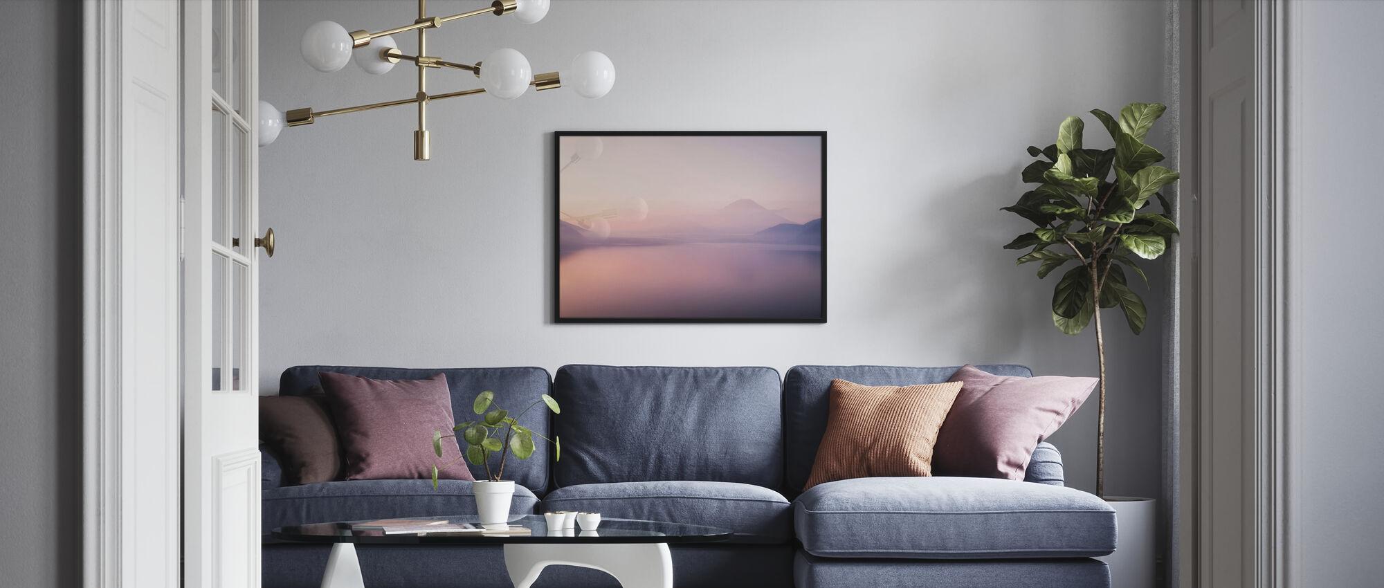 Mt. Fuji over a Foggy Lake - Poster - Living Room