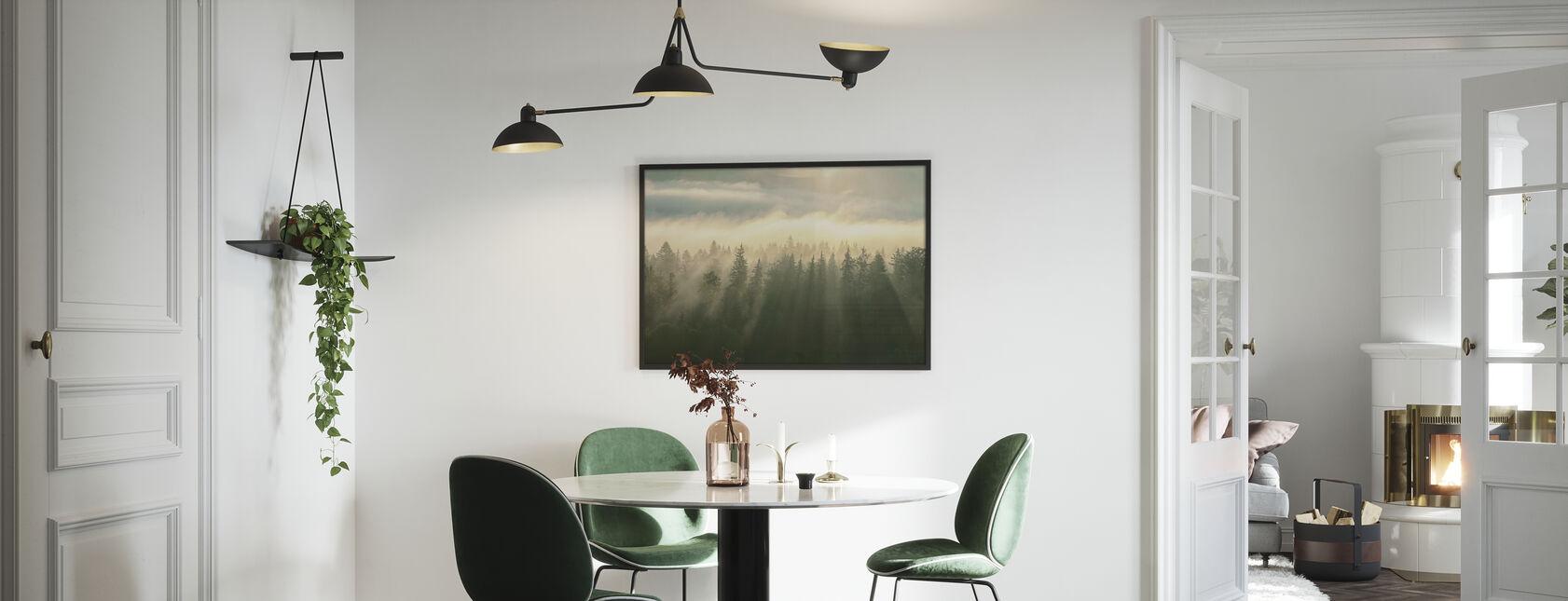 Beboste Mountans mist - Ingelijste print - Keuken