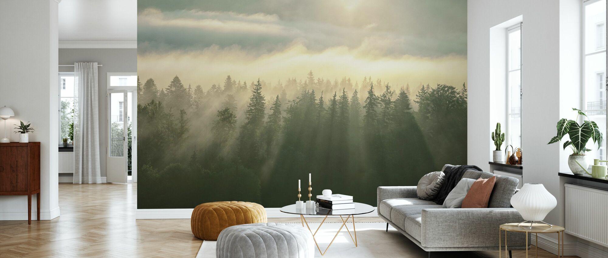 Beboste Mountans mist - Behang - Woonkamer