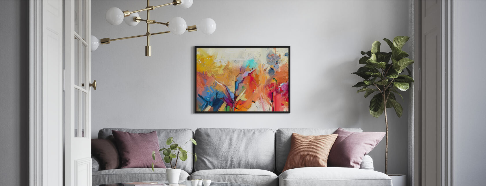 Farverige abstrakt maleri - Indrammet billede - Stue