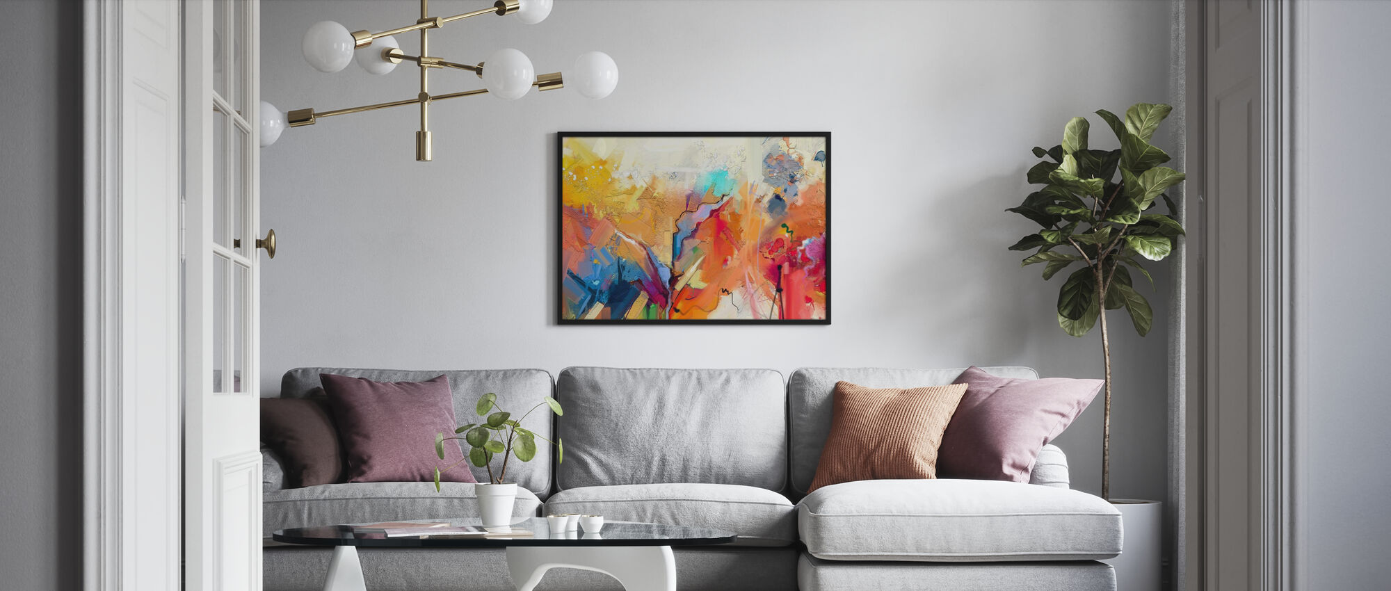 Värikäs abstrakti maalaus - Kehystetty kuva - Olohuone