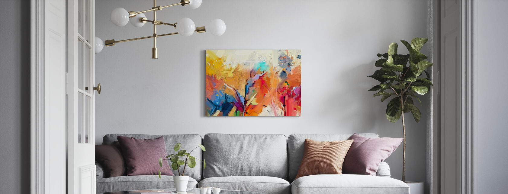 Värikäs abstrakti maalaus - Canvastaulu - Olohuone