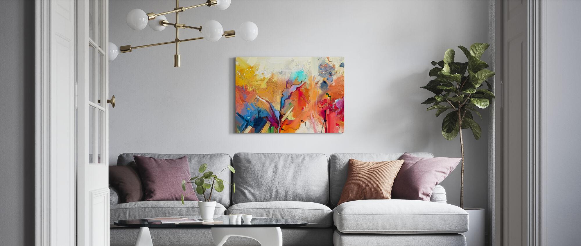 Kolorowe abstrakcyjne malarstwo - Obraz na płótnie - Pokój dzienny